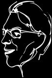 Vector sketch of the face of an adult male with glasses Stock Photography