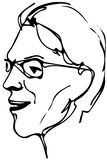 Vector sketch of the face of an adult male with glasses Stock Photos