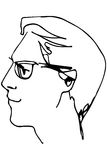 Vector sketch of the face of an adult male with glasses Stock Image