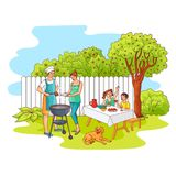 Vector sketch family at barbeque party at garden. Hand drawn family at barbeque garden party . Sketch Man, father cooker standing near bbq grill preparing meat royalty free illustration
