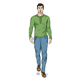 Vector Sketch Fashion Male Model in Trousers and Longsleeve Shirt Stock Image