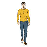 Vector Sketch Fashion Male Model in Trousers and Longsleeve Shirt Royalty Free Stock Photos