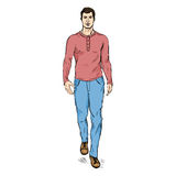 Vector Sketch Fashion Male Model in Trousers and Longsleeve Shirt Royalty Free Stock Images