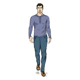 Vector Sketch Fashion Male Model in Trousers and Longsleeve Shirt Royalty Free Stock Photography