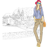 Vector sketch of a fashion stylish girl in the old Stock Photography