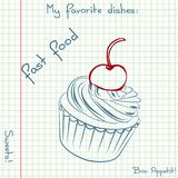 Vector of sketch fast food. Doodle food icon. Hand drawn illustrations on a sheet of exercise book. Blue pen drawing. Sketch fast food. Doodle food icon. Hand Royalty Free Stock Images