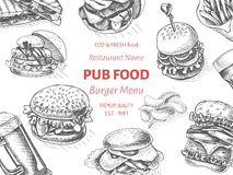 Vector sketch of fast food pub menu - burger Stock Photos