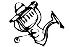 Vector sketch of fast-response Fishing Reels Royalty Free Stock Images