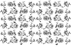Vector sketch of fast-response Fishing Reels Stock Photography