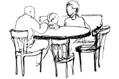 Vector sketch of father and mother with her daughter at a table Royalty Free Stock Images
