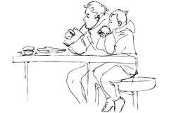 Vector sketch father and son at the table in a cafe Stock Photo