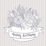 Vector sketch, festive flowers with happy birthday wish Royalty Free Stock Images