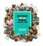 Vector sketch financial investments poster. Investment and financial consulting sketch poster. Vector design of money bags with bank notes and coins, piggy bank Royalty Free Stock Photography