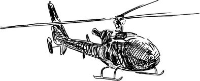Flying helicopter. Vector sketch of a flying helicopter stock illustration