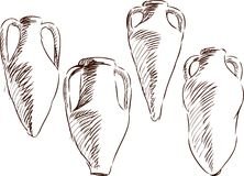Amphoras for wine. Vector sketch of a four antique amphoras for wine royalty free illustration