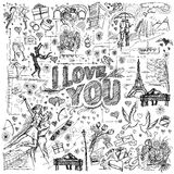Vector sketch frame background with love story elements Royalty Free Stock Photos