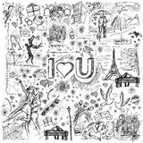 Vector sketch frame background with love story elements Stock Image