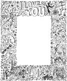 Vector sketch frame background with love story elements Royalty Free Stock Photo