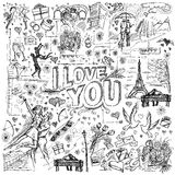 Vector sketch frame background with love story elements Stock Photos