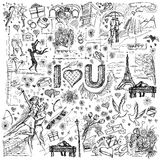 Vector sketch frame background with love story elements Stock Photo