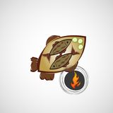 Vector sketch of fried fish on a plate Royalty Free Stock Images