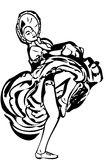 Vector sketch of a girl dancing the cancan skirt Royalty Free Stock Photography