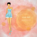Vector sketch girl in fashion clothes eps Royalty Free Stock Image