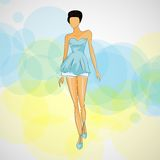Vector sketch girl in fashion clothes eps Royalty Free Stock Images