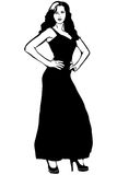 Vector sketch of a girl in a long black evening dress Royalty Free Stock Image