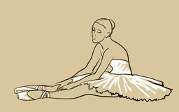 Vector sketch of girl's ballerina Stock Photo