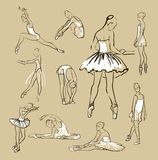 Vector sketch of girl's ballerinas set Stock Images