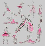 Vector sketch of girl's ballerinas set Royalty Free Stock Image