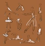 Vector sketch of girl's ballerinas set Royalty Free Stock Photography