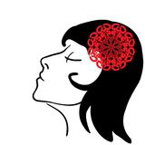 Vector sketch - girl's profile with red flower. Woman portrait with red flower in hair Stock Photos