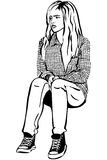 Vector sketch of a girl in sneakers and shirt in the box Royalty Free Stock Photography