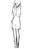 Vector sketch of a girl who was shya Royalty Free Stock Images