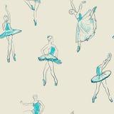 Vector sketch of girls ballerina seamless pattern Stock Photos