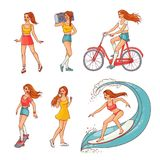 Vector sketch girls summer leisure activity set. Pretty young redhead women summer leisure activity set. Beautiful female characters, girl surfing in swimsuit stock illustration