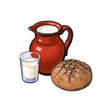 Vector sketch glass of milk ceramic jug loaf bread. Vector sketch cartoon glass of milk and ceramic pitcher jug, crock and loaf of round dark bread. Isolated Vector Illustration