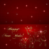 Vector sketch of goat and baby, symbol New Year on. Vector abstract gold sketch of goat and baby , symbol of New Year 2015 on dark red Background Royalty Free Illustration