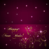 Vector sketch of goat and baby, symbol New Year on. Vector abstract gold sketch of goat an baby , symbol of New Year 2015 on redBackground vector illustration