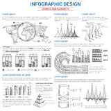 Vector sketch graphs and elements for infographics. Infographics icons set for statistics and analytics. Vector elements of consumer marketing and business Royalty Free Stock Images