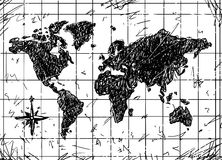Vector Sketch of Grunge Map Royalty Free Stock Image