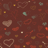 Vector sketch heart seamless pattern design Royalty Free Stock Photography