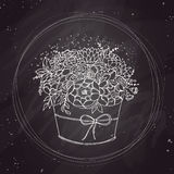 Vector sketch, holiday bouquet on chalkboard Royalty Free Stock Photos