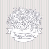 Vector sketch, holiday flower bouquet with happy birthday wish Royalty Free Stock Photo