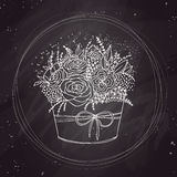 Vector sketch, holiday flowers on chalkboard Royalty Free Stock Image