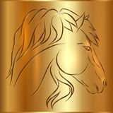 Vector Sketch Horse on Golden Background. Symbol of New Year Royalty Free Stock Images