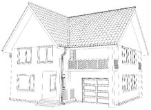 Vector sketch house on the white background. EPS Stock Photography