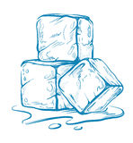 Vector sketch of ice cubes. Doodle style on white Royalty Free Stock Images